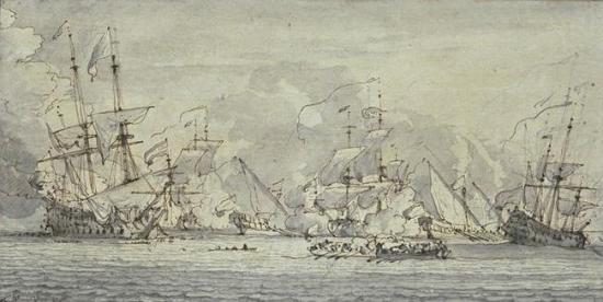 Combat_naval_entre_quatre_grands_vaisseaux_de_guerre_et_trois_galères