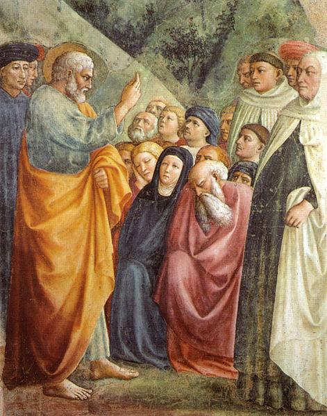 Cappella_brancacci,_Predica_di_San_Pietro_(restaurato),_Masolino